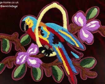 Colourful 1930s Art Deco Parrot Plushwork Panel