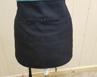 waist apron, apron with zipper,