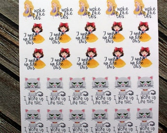 Woke Up Like This - Cat Planner Stickers - Princess Stickers - Happy Planner - for use with Erin Condren