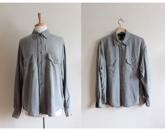 Vintage Slouchy Grey Green Silk Button Down Top