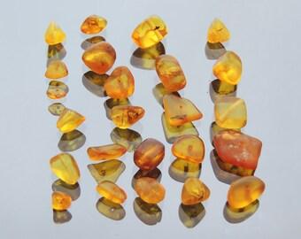 Baltic Amber Beads lot Natural hand polished Lemon Yellow Honey Amber 22x16x5 MM