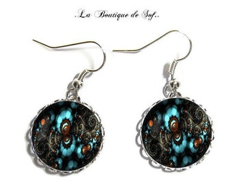 Earrings, abstract, silver, glass cabochon, 18 mm (210218)