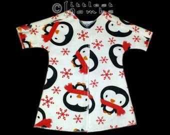 Micro Preemie Clothes, Preemie Christmas Pajamas, NICU Approved Gown, Premie Boy Clothing,  Penguins,  Flannel Pyjamas, SCBU, Prem