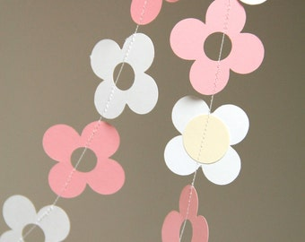 Pink and white daisy flower garland (8 feet) - READY TO SHIP