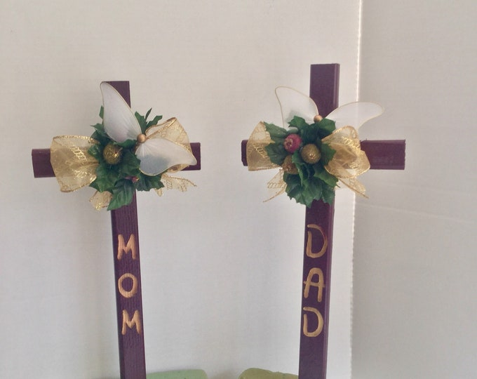 Mom & Dad Christmas Cemetery flowers, holiday grave decoration, memorial cross, Christmas Floral Memorial, grave marker, in memory of
