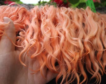 Eco natural ginger goatskin angora mohair locks perfect doll hair handdyed