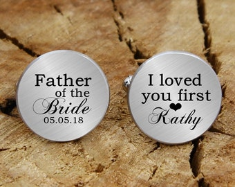 I loved you first engraved cufflinks engraved father of the bride cufflinks custom personalized cufflinks tie clip engraved wedding cufflink