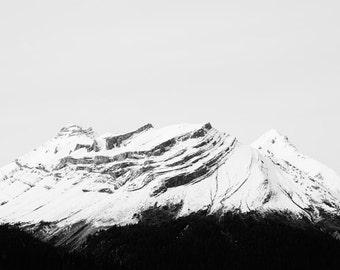 "Winter Landscape Photography, Minimalist Wall Art Print, Mountain Print, Black and White, Nature Photography, Mountain Art ""Ascent"""