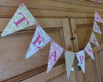Tea Party Bunting Banner - Pink, Blue, Green, Floral - Birthday, Hen Party, Bridal Shower