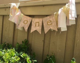 Shabby chic pink and gold highchair banner