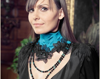"Turquoise Silk Neck Corset Necklace ""Nuit Indienne"" Organza Flowers Azurite Obsidian UNIQUE PIECE"