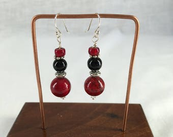 Red and Black Earrings Silver Findings Sterling Silver Ear Wires