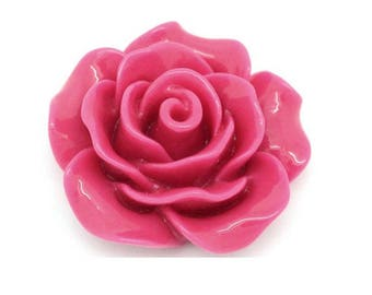 Set of 50 large 19 mm fuchsia pink resin cabochon flowers