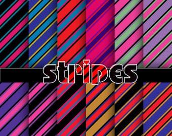 stripes digital paper, stripes background, stripes scrapbook paper, stripes digital scrapbook