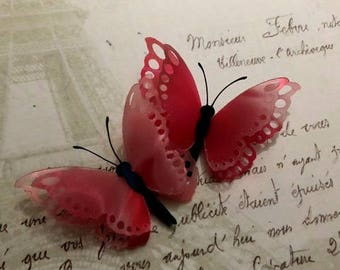 Beautiful Pink Butterfly Hair Clips, Hair Fascinators, Prom, Wedding, Bridesmaids, Wedding Decorations