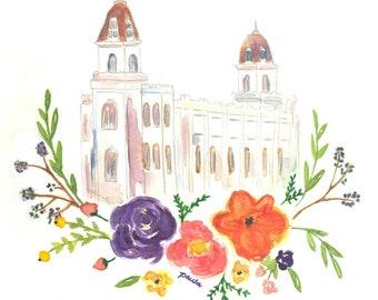 Manti LDS Temple Watercolor