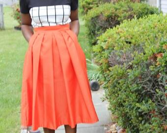 Orange Midi Skirt With Pockets