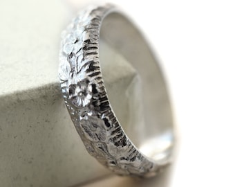 Elizabethan Style Floral Ring, Men's Wedding Band, Custom Engraved Sterling Silver Ring, Handmade Wedding Jewelry, Personalized Gift for Him