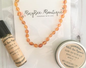Baltic Amber Teething Necklace - Teething Essentials Kit - Essential Oil Roll On - Bottom Salve - New Baby Bundle - Baby Shower Gift Genuine