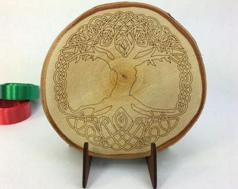 Wood Ornament, Tree of Life, engraved wood slice with stand