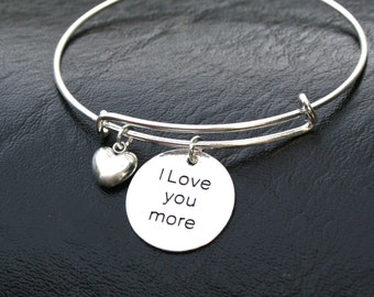 """Stainless Steel Charm - """" I Love You More """" Engraved Charm - Choose Swarovski Birthstone - Shower Gift - Daughter Gift , Gift For Her - R18"""