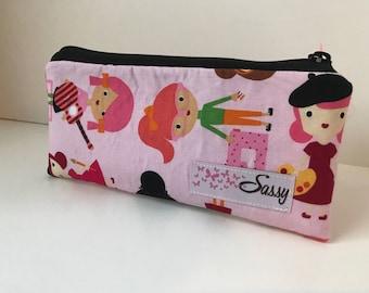 Pink Ladies Fabric Make up Bag, Small Size Cosmetic Bag, Travel Makeup Bag, Lined Makeup Bag