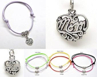 Bracelet or Anklet Adjustable Heart Aunt Mom Sis Sterling Silver Friendship String Boho 6 colors 501 -2188 2189 2190