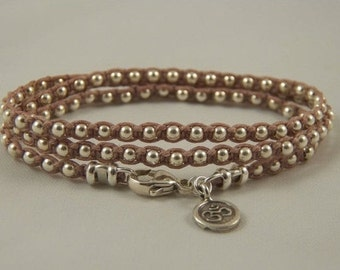 "PICK Your COLOR Sterling Silver Wrap Bracelet ""Silver Lining"" TRIPLE Wrap Bracelet Victorian Rose Irish Linen Cord Sterling Silver Beaded B"