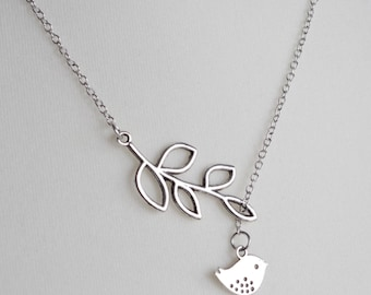 Mothers Day Gift Bird and Branch Lariat Necklace Leaf Pendant Necklace Bird charm necklace Wedding jewelry Love Bird Necklace Bridal mom