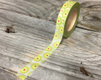 Washi Tape - 10mm - Green and Red Flowers on White - Deco Paper Tape No. 1100