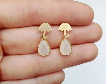 Delicate Matte gold umbrella earrings with white opal teardrop beads, umbrella earrings, umbrella studs, teardrop earrings