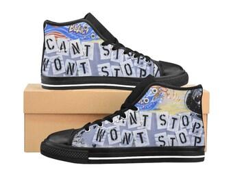 Cant Stop Wont Stop Graffiti WomenS HighTop Sneakers Street Art Womens Canvas Shoes Punk Rock Shoes Graffiti Sneakers