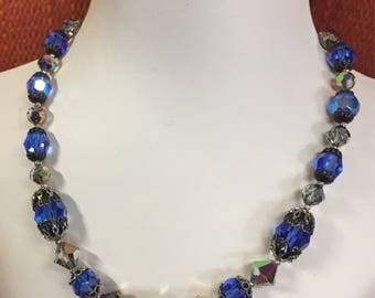 Sparkly Blue Aurora Borealis Crystal Beaded Vintage Choker Necklace.  Free shipping .