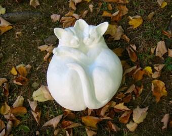 Concrete Cat Statue, Cuddling Life Size Cat Figures, Pet Memorials, Cat  Statues,