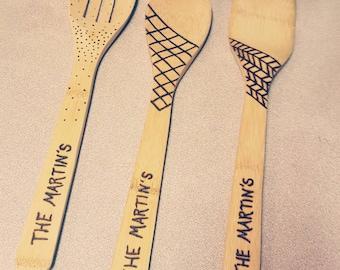Bamboo Cooking Utensils | Personalized Cooking Utensils | Kitchen Utensils