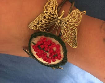 Butterfly and Flowers Bracelet