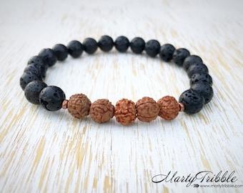 Lava Stone Bracelet, Rudraksha Bracelet, Mens Bracelet, Mala Bead Bracelet, Mala Bracelet, Mala Beads, Buddhist Jewelry, Black Lava Bracelet