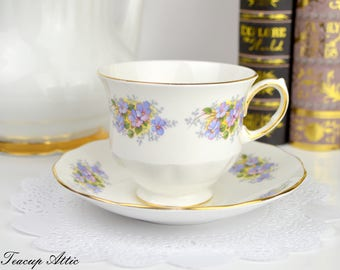 Queen Anne Vintage Teacup And Saucer Set with Purple Flowers, Pattern 8563 ca. 1959-1966
