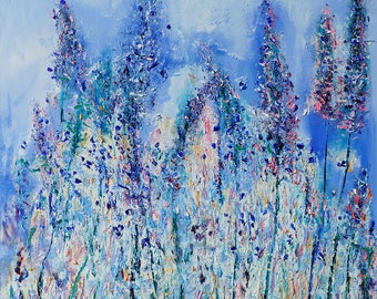 Original Oil Painting Floral oil painting Flowers painting Lavender flowers Ukrainian art Olesya Hudyma art for women free shipping