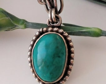 Chrysocolla and sterling silver pendant