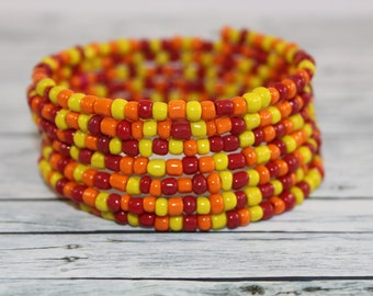 Fire - orange, red and yellow glass beads memory wire bracelet