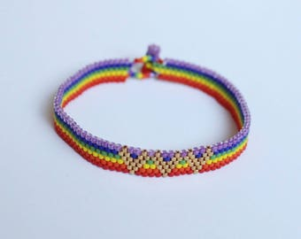 Gay Pride Bracelet, LGBT Bracelet, Lesbian Gay Gifts Jewelry, Rainbow Bracelet, Friendship Charm, Gay Flag Bracelet