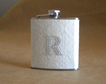 Wedding Day Gift Personalized Flask of White Embossed Print with ANY Rhinestone Initial 6 oz. Stainless Steel Girly Gift Flask KR2D 4311