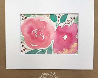 Watercolor Floral Original 5x7