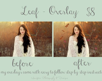 Leaf leaves Autumn/Fall Photoshop Overlay CS6 CC CS5 CS4 see before & after