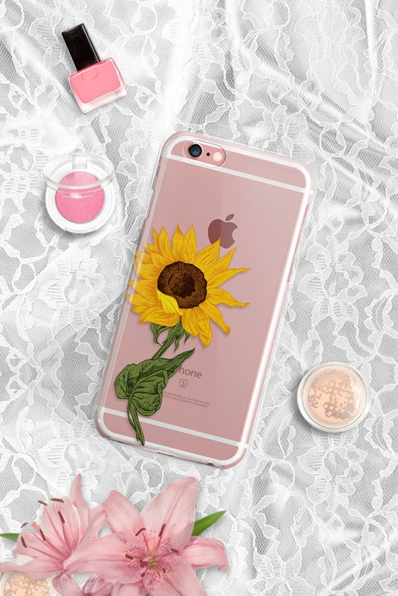iPhone 7 Clear Case Sunflower iPhone 7 Plus Rubber Case iPhone 6 Clear Case iPhone 6S Case iPhone SE Case Clear Samsung S7 Edge Case