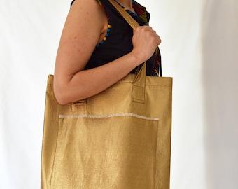 Tote, hand, large, strong, natural, beige, gold, wool, shoulder, shopping bag