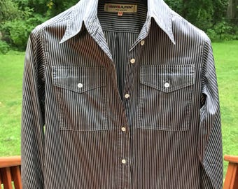 RARE Authentic Vintage YSL Yves Saint Laurent pinstripe shirt dress