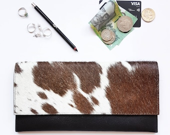 Minimalist Clutch - Cowhide - Chocolate Brown