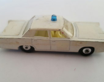 Vintage Matchbox Series No 55 or 73 Lincoln Mercury police cruiser, prowler, 1960's toy car